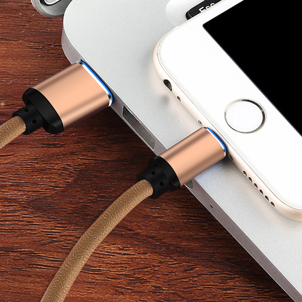 Fast Charge And Data Transfer PU Leather Charging Cable